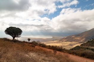 The track entering the Ngorongoro Crater, giving a view of Lake Magadi